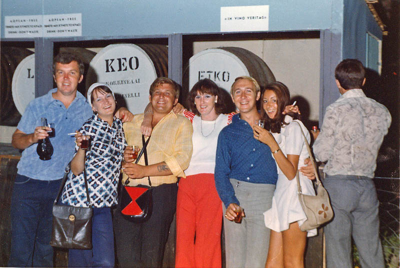Pete & Mary, Steve & Madeleine, Gary & Cathy with Taff Harris's back at Limassol Wine Festival